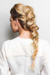 Beautiful classic blonde balayage by Jack Howard in knotted braid updo by Siiobhan