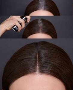 Application of Touch Up Root Spray on Brown dark brown hair to cover grey regrowth temporarily